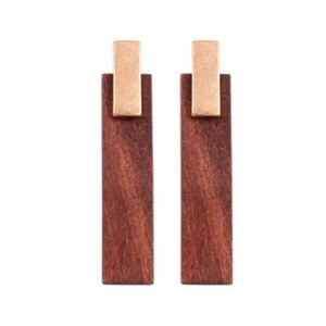 Gold and Wood Bar Post Earrings